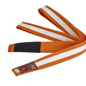 BJJ пояс для детей, оранжевый с белой лентой по всей длине
