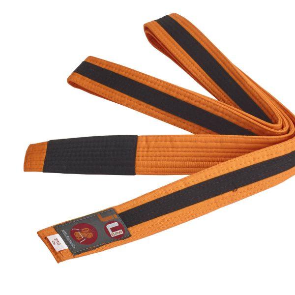 BJJ пояс для детей, оранжевый с черной лентой по всей длине