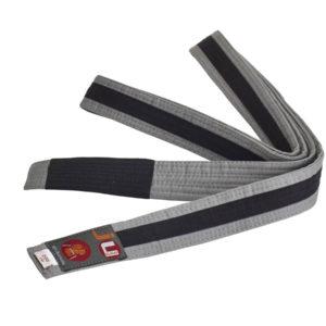 BJJ пояс для детей, серый с черной лентой по все длине