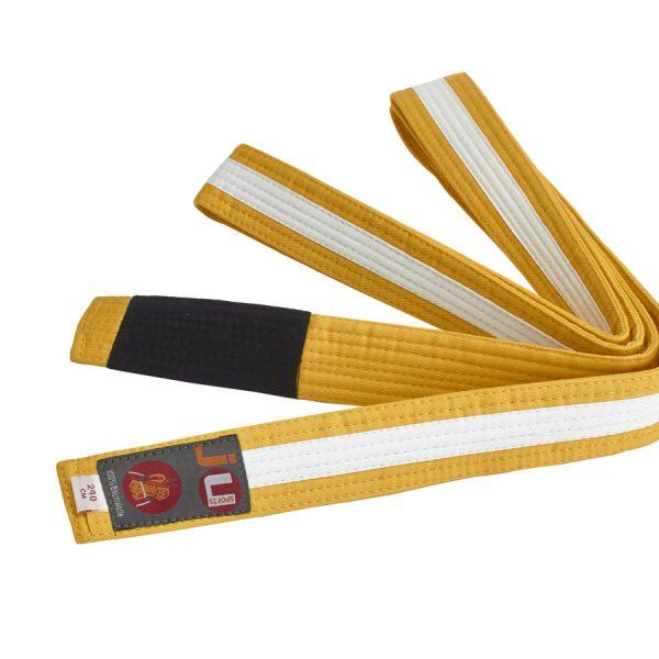 BJJ пояс для детей, желтый с лентой по всей длине белого цвета