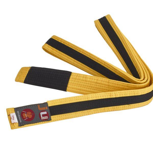 BJJ Пояс для детей, желтый с лентой по всей длине черного цвета